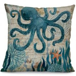 Funda de cojín de lino de algodón con estampado de tortuga de mar Miracille, funda de almohada de decoración para el hogar, fund
