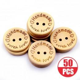 Eleman 50 unids/lote color natural de madera botones hechos a mano carta de amor botón de madera de artesanía DIY accesorios de