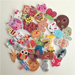 50 piezas animales mixtos 2 agujeros botones para álbum de recortes de madera artesanías DIY bebé niños vestimenta accesorios de