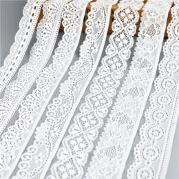5 yardas/lote de alta calidad Blanco cinta de encaje elástica adornos ropa interior de encaje bordado para la decoración de la c