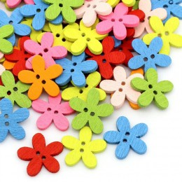 DoreenBeads botones de costura para álbumes de recortes artesanía ropa DIY suministro flor 2 agujeros Color al azar 14x15mm, 20