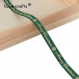 5 yardas/lote 10mm/15mm/25mm poliéster impresión Navidad grogrén cintas DIY Navidad Fiesta envoltura decoración suministros Mate