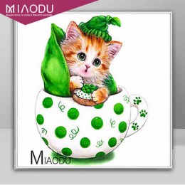 Miaodu bordado con diamantes, pasatiempo Animal gato 5D DIY pintura de diamantes experiencia de punto de cruz juguetes mosaico d