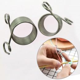 Aguja Jacquard DIY herramienta de tejer nudillo asistente 1 pieza guías trenzadas dedal Popular accesorios de costura de acero i