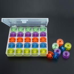 25 piezas Color al azar de transporte al núcleo de plástico de la caja de vacío bobinas de la máquina de coser bobinas de almace