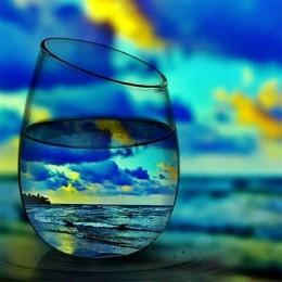 Vaso de cristal cuadrado completo/piedras redondas bordado de diamante paisaje 5d pintura de diamantes mosaico imagen de diamant