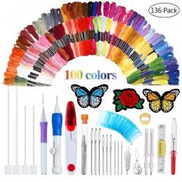 136 unids/set Kit de agujas de punzón con patrones mágicos, juego de bolígrafo para bordar, hilos para coser, enhebradores de br