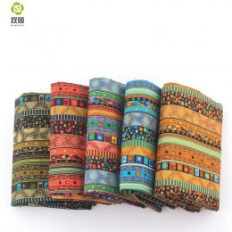 Africano Floral Algodón de Lino de la vendimia Remiendo de la tela Hecha A Mano DIY de Costura Textil Para Las Bolsas de Ropa de