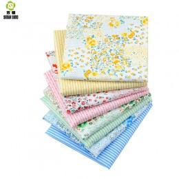 Shuanshuo Floral y rayas tela de algodón tejido de tela hecha a mano DIY acolchado costura Bebé y niños hojas vestido 40*50cm 8