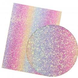 IBOWS 22*30CM Glitter tela de cuero sintético gradiente arcoíris grueso brillo decoración de tela para boda DIY Hairbows materia