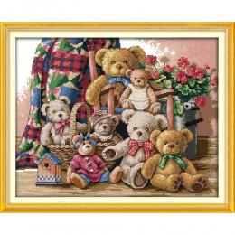 Amor Eterno Oso de Navidad familia algodón ecológico chino kits de punto de cruz contados estampados nueva tienda promoción de v