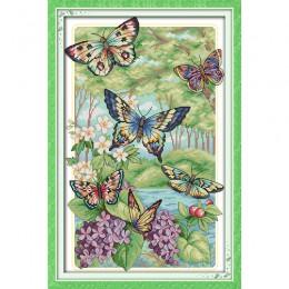 Amor Eterno Navidad mariposas volar en el bosque kits de punto de cruz chino algodón ecológico nueva tienda promoción de ventas