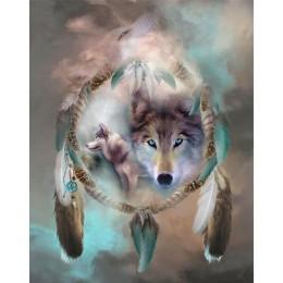 Atrapasueños Lobo completo taladro cuadrado/Animal redondo 5d pintura de diamantes bordado diamante mosaico de diamantes punto d