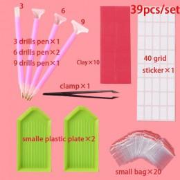 38 unids/set de herramienta de pintura de la pluma Kits completos accesorios de bordado y diamantes de imitación cajas estuches