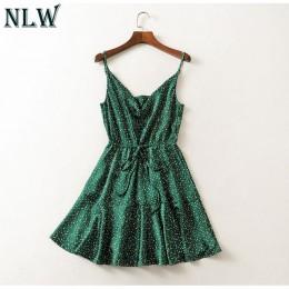 NLW Vintage verde Polka Dot mancha Vestido Mujer 2019 verano Sexy Correa espalda descubierta Vestido corto chica elegante vestid