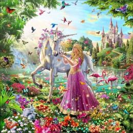 Kit de pintura de diamante de resina de chica elfo unicornio bordado de lienzo decoración de la habitación del hogar mosaico de