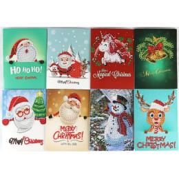 8 Uds. Pintura de diamante Mini Santa Claus Feliz Navidad papel postales de saludo artesanía DIY niños Festival tarjetas regalo