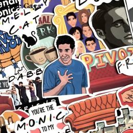 Homegaga 34 Uds Amigos de la serie de tv fans regalo decoración pegatina para DIY álbum de recortes equipaje Laptop teléfono peg