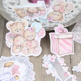 22 unids/set pintado a mano acuarela oso muñeca flor cuenta álbum diario DIY adhesivos caseros decorativos paquete scrapbooking