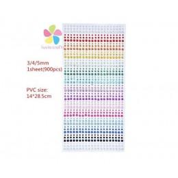 Pegatinas de GEMA de colores autoadhesivas para manualidades de 3/4/5mm con diamantes de imitación para scrapbooking 1 hoja C080