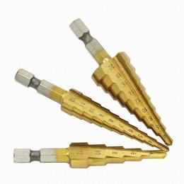 3 unids/set (3-12mm/4-12mm/4-20mm) cortador de agujero cónico de núcleo escalonado HSS juegos de perforación de titanio de acero