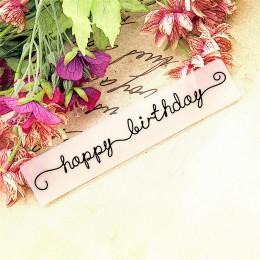 Panfelú palabras Feliz cumpleaños en relieve carpetas de plástico para Scrapbooking DIY plantilla Fondant Cake tarjeta para álbu