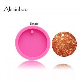 DY0079 50mm/75mm círculo redondo brillante con agujeros de disco llaveros molde de silicona para llavero colgante de arcilla bri