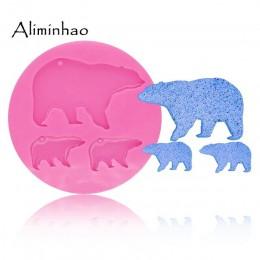 DY0056 DIY silicona brillante madre oso y bebé molde para llaveros colgantes decoración moldes de arcilla polímeros molde de res