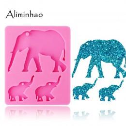 DY0078 elefante brillante mamá y bebé llaveros de silicona molde animal llavero colgante arcilla DIY joyería Fabricación de mold