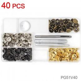 40-120 Uds. 4 colores de broche de presión de cuero Kit de botones de presión Jeans tachuelas con 4 piezas de herramientas de fi