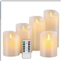 Velas decorativas de Boda sin llama con pilas Pilar mecha de cera Real LED vela juegos de regalo con Control remoto