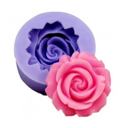 3D Rosa flor forma jabón silicona molde forma pastel de Chocolate molde hecho a mano Diy decoración de tortas con fondant molde