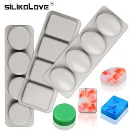 Silikove DIY jabón de silicona molde para fabricación artesanal de jabón formas 3D molde redondo Oval cuadrado moldes para jabon
