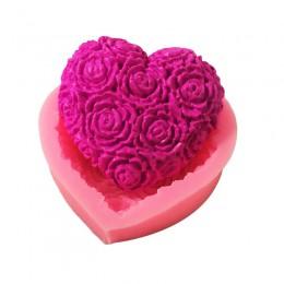 Corazón encantador flor de Rosa de silicona molde de jabón DIY Fondant torta forma de jabón suministros para hacer jabón 3d hech