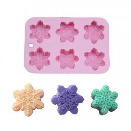 6 formas Navidad copo de nieve de silicona molde de jabón para pastel DIY hecho a mano pudín chocolates velas jellies molde de p