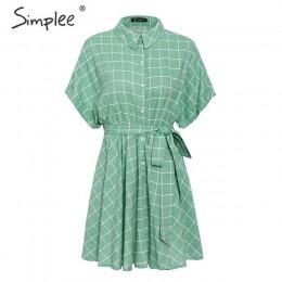 Simplee elegante plaid sashes mujeres Vestido de manga corta A-line casual streetwear mujer Vestido corto botón verano vestido 2