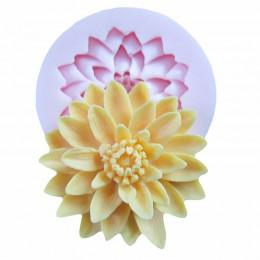 3D hermoso Lotus crisantemo flor silicona jabón moldes para utensilios para decoración de tortas con fondant DIY hornear molde p