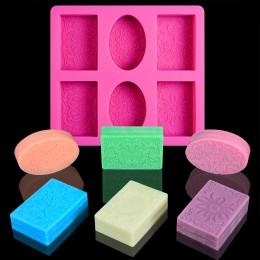 Molde de silicona DIY para hacer jabón 3D 6 formas de jabón rectangular ovalado molde de jabón hecho a mano de flores de baño de