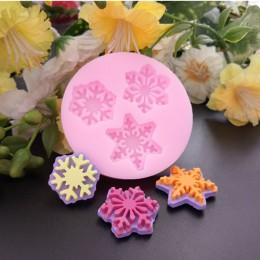 3D Navidad copo de nieve flor jabón de silicona moldes para hornear molde para tortitas de chocolate jabón 3D Fondant pastel her