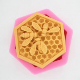 3D Bee Honeycomb silicona jabón moldes vela resina artesanías molde fondant de mousse pastel hornear Decoración Accesorios de co
