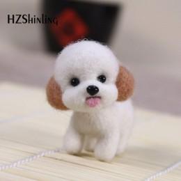Moda mujer verano artesanal hecho a mano encantador perro juguete muñeca lana fieltro punteado Kitting DIY lindo Animal lana fie
