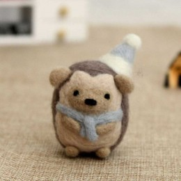 DIY Beginer hecho a mano Mr juguete de puercoespín muñeca lana aguja fieltro punteado Kitting Animal lindo fieltro de lana no ac