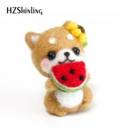 Niñas traviesas lindas mascotas perro hecho a mano juguete muñeca lana fieltro punteado Kitting no terminado DIY lana fieltro pa