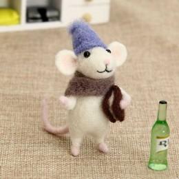 2019 niñas niños DIY regalo ratón lana aguja fieltro juguete muñeca lana fieltro aguja Kit paquete no acabado