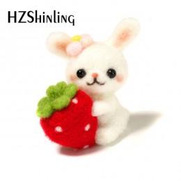 Precioso gatito conejo mascotas hecho a mano juguete muñeca lana fieltro punteado Kitting no terminado DIY lana fieltro paquete