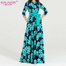 S vestido de otoño invierno con estampado de FLAVOR para mujer vestido de fiesta largo suelto con cuello redondo elegante para m