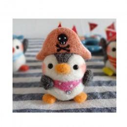 2019 creativo lindo Animal pingüino oso muñeco de juguete lana fieltro punteado Kitting no acabado Handcarft lana Material de fi