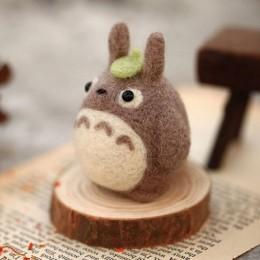 2019 caricatura Mona Totoro lana fieltro muñeca lana fieltro punteado Kitting DIY paquete no terminado para mujeres niñas