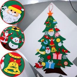 1 Juego de fieltro Artificial colorido árbol de Navidad puerta pared adornos colgantes de Navidad palo rompecabezas juguetes dec