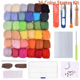 Kit de fieltro de aguja 36/50 colores fibra de lana Roving alta artesanía de lana Material fieltro de lana con utensilios con ag